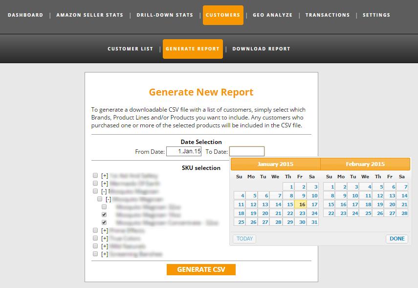Customer List Export by SKUs